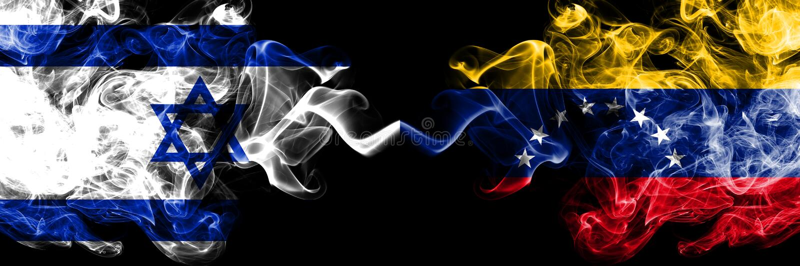 Israel vs Venezuela, Venezuelan smoky mystic flags placed side by side. Thick colored silky smokes flag of Israel and Venezuela, royalty free illustration