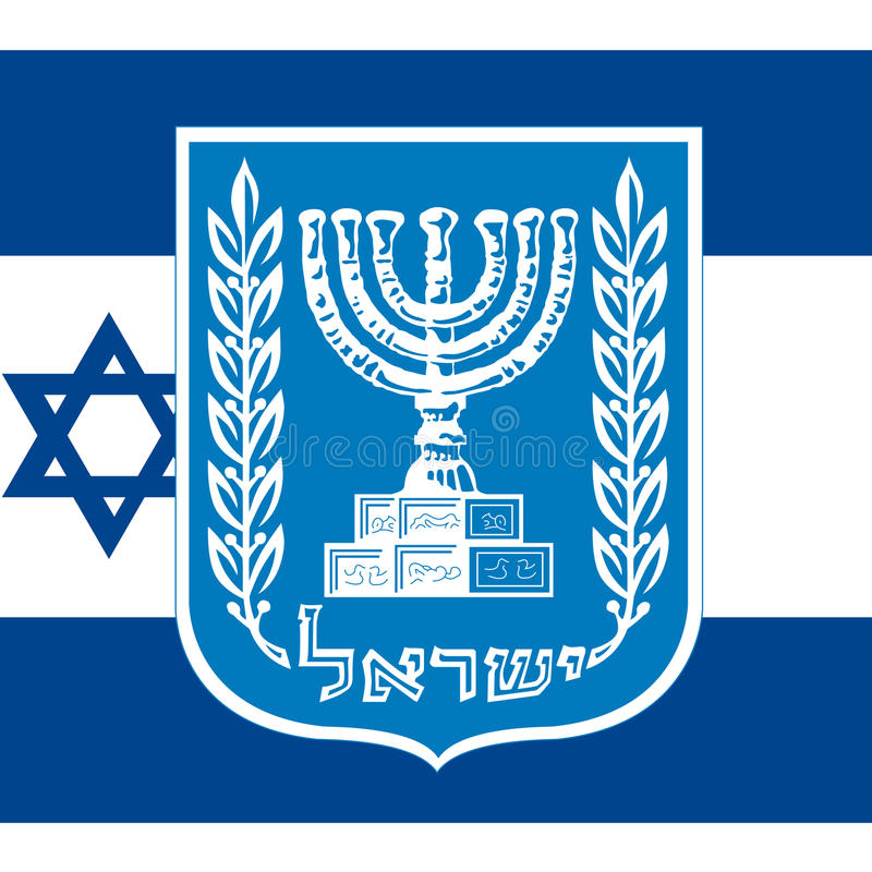 Israel-Wappen und Flagge stock abbildung