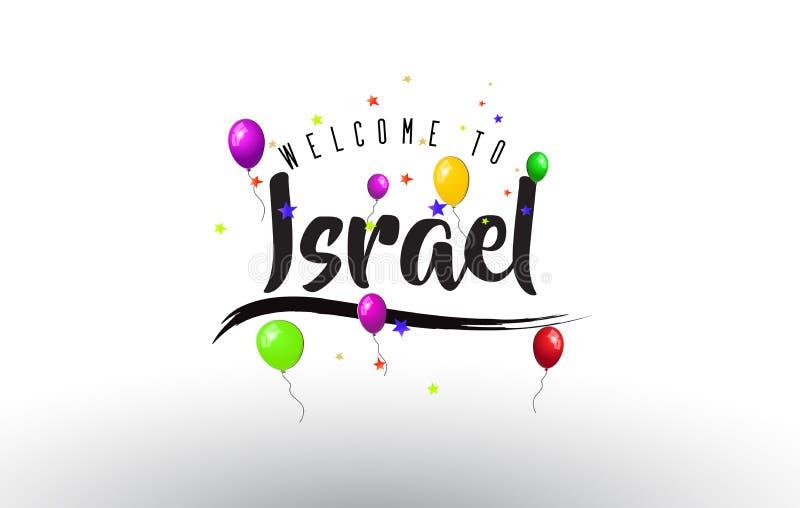 Israel Welcome ao texto com balões coloridos e as estrelas projetam ilustração royalty free