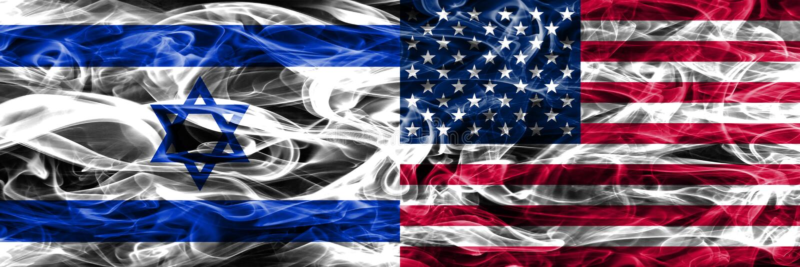 Israele contro le bandiere del fumo degli Stati Uniti disposte parallelamente Israeliano e fla degli Stati Uniti illustrazione di stock
