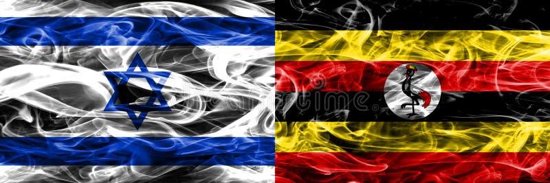 Israele contro le bandiere del fumo dell'Uganda disposte parallelamente Israeliano ed ug royalty illustrazione gratis