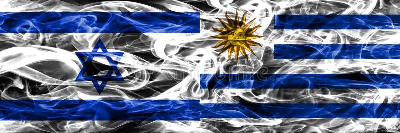 Israele contro le bandiere del fumo dell'Uruguay disposte parallelamente Israeliano ed U illustrazione di stock