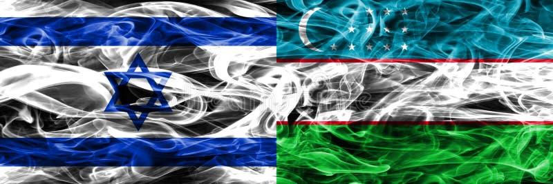 Israele contro le bandiere del fumo dell'Uzbekistan disposte parallelamente Israeliano royalty illustrazione gratis