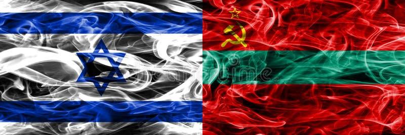 Israele contro le bandiere del fumo della Transnistria disposte parallelamente israeliano illustrazione di stock