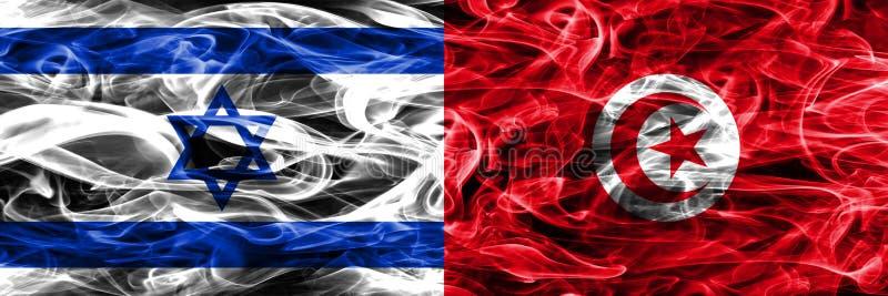 Israele contro le bandiere del fumo della Tunisia disposte parallelamente Israeliano e T illustrazione vettoriale