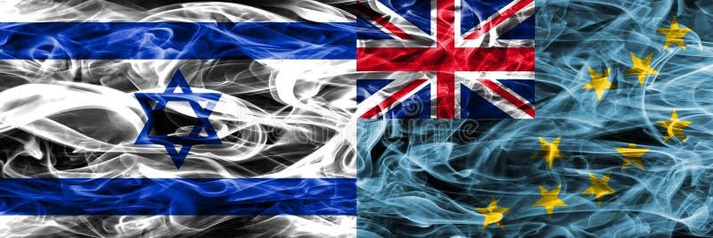 Israele contro le bandiere del fumo di Tuvalu disposte parallelamente Israeliano ed il Tu royalty illustrazione gratis