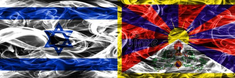 Israele contro le bandiere del fumo del Tibet disposte parallelamente Israeliano e Tib illustrazione vettoriale