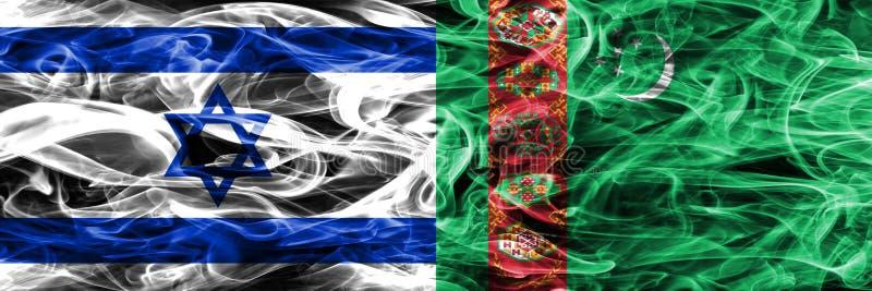 Israele contro le bandiere del fumo del Turkmenistan disposte parallelamente israeliano royalty illustrazione gratis