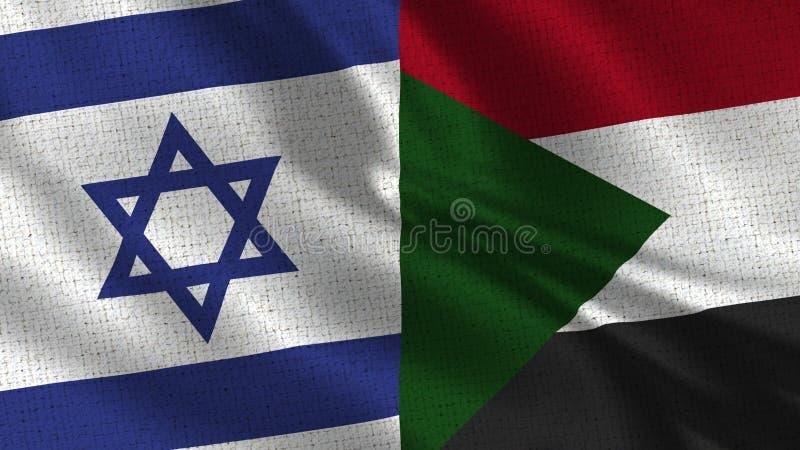 Israele e bandiera del Sudan - due bandiere insieme fotografia stock libera da diritti