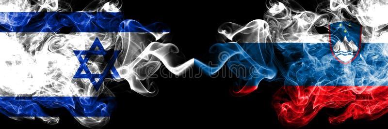 Israele, israeliano, Slovenia, slovena, bandiere fumose variopinte spesse della concorrenza di vibrazione Giochi europei di quali royalty illustrazione gratis