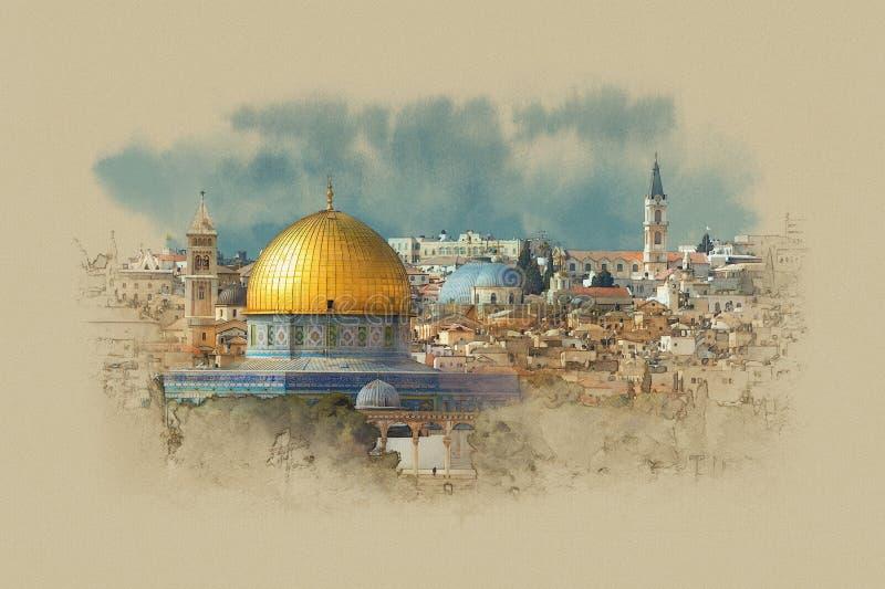 Israele, la cupola della roccia a Gerusalemme fotografia stock libera da diritti
