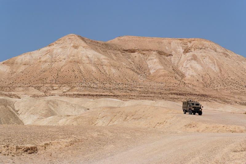 Israeli army Humvee on patrol in the desert stock photo