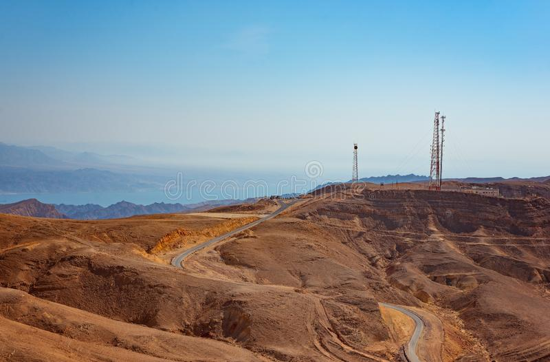 Israeli asphalt road from Eilat to Tel Aviv royalty free stock images