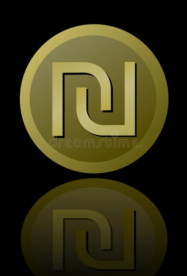 Israeli currency shekel symbol , elegant minimalist circle gold metallic coin with mirror reflection isolated on black. Background. Vector EPS 10 vector illustration