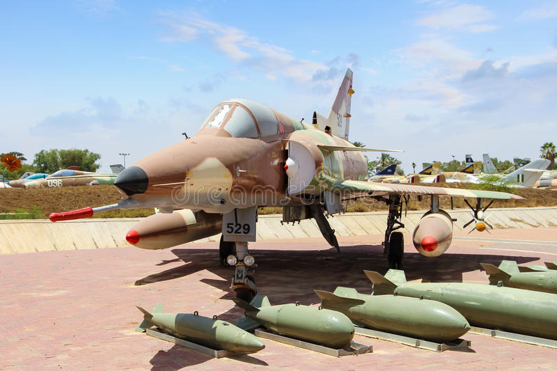 Israeli fighter aircraft with missiles. Israeli Air Force Museum royalty free stock photography