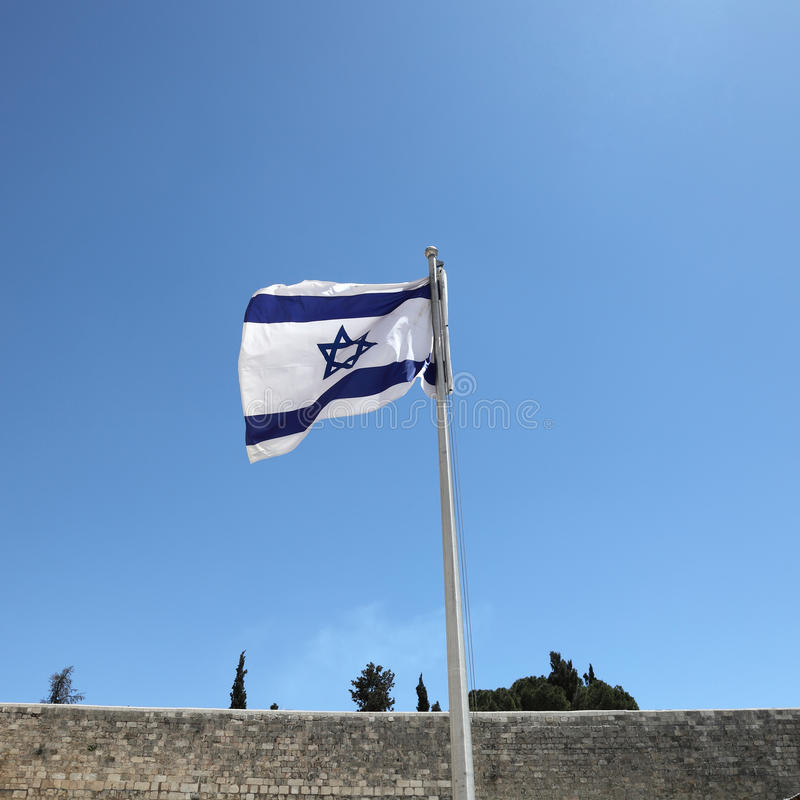 Israeli Flag In Jerusalem, Israel Stock Photos
