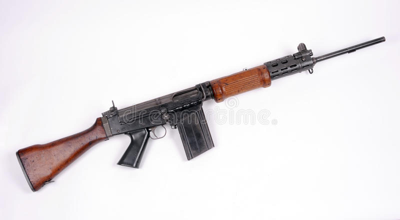 Israeli FN FAL assault rifle. The 7.62mm NATO Israeli FN FAL Rovve Mittan (Self Loading Rifle) used from the 1960s to 1980s. REAL FIREARM NIOT AIRSOFT TOY stock photography