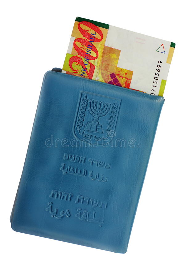 Israeli identity card and money stock images