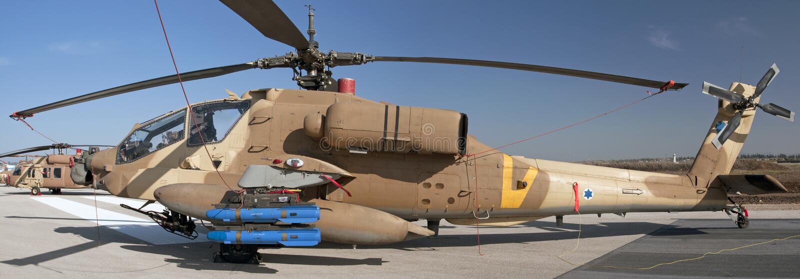 Israeli longbow apache chopper in an air show stock photos