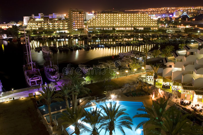 The Israeli night in Eilat royalty free stock photography