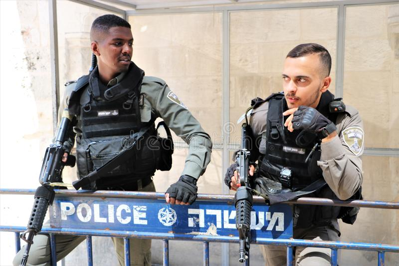 Police in Jerusalem, Israel stock image