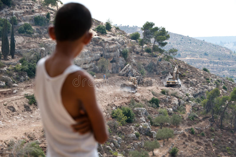Israeli Separation Barrier Construction stock photography