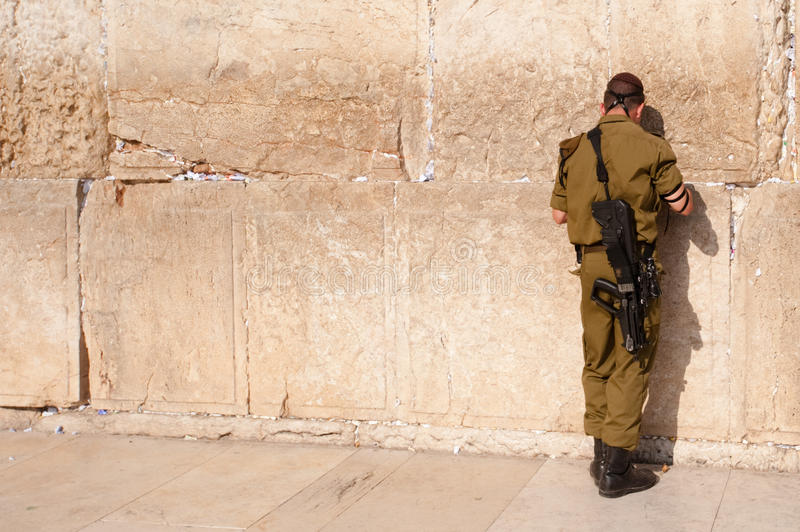 Israeli Soldier at Western Wall stock photo