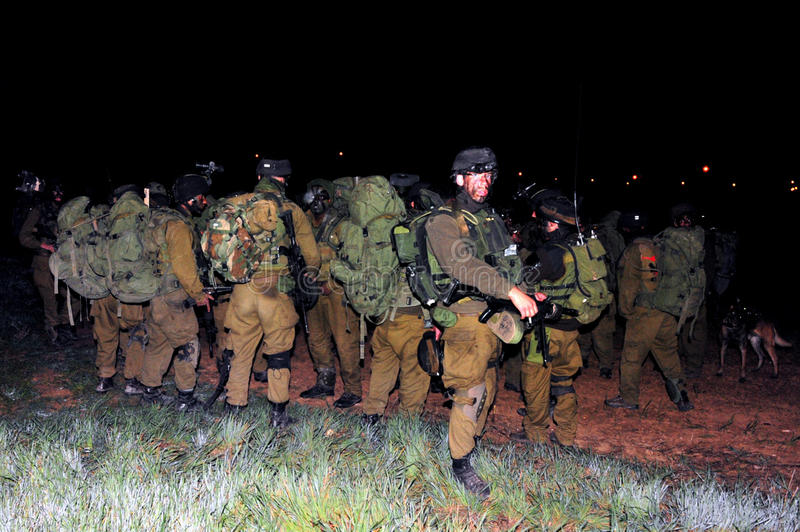 Israeli Soldiers Ready for Ground Incursion in Gaza Strip royalty free stock photo