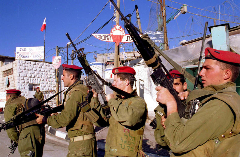 ISRAELISCHE ARMEE AUF DEM WESTJORDANLAND stockfoto
