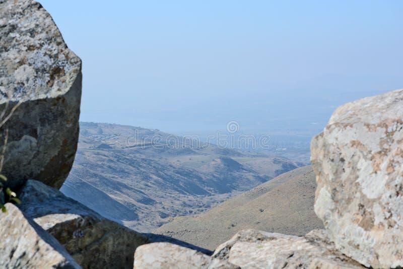 Israelische Nationalpark Gamla-Festung bei Golan Hights stockfotografie