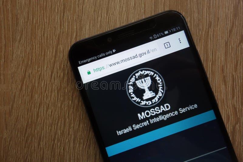 Israelische offizielle Website des Geheimnis-Nachrichtendienstes MOSSAD zeigte auf einem modernen Smartphone an stockbilder