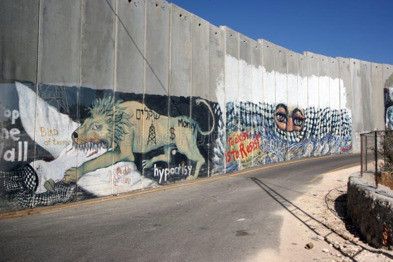 Israelische Trennungswand in der Westjordanlandstadt von Bethlehem stockbild