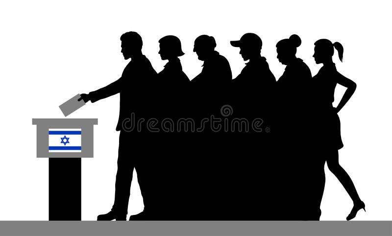 Israelische Wähler drängen Schattenbild, indem sie für Wahl in Israel wählen stock abbildung