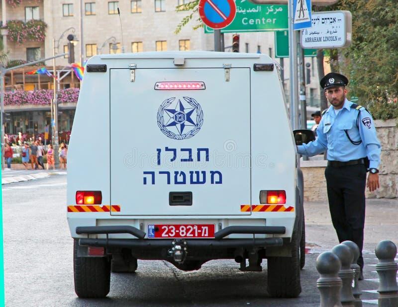 Israelisches Polizei-Bombengeschwader-Fahrzeug stockbild