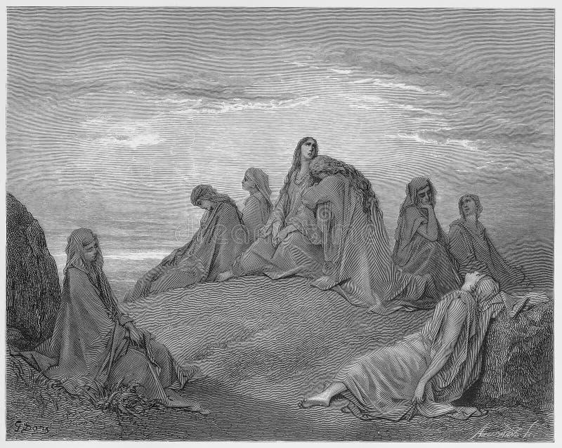 Israelitische Frauen beklagen mit Jephthah-Tochter vektor abbildung