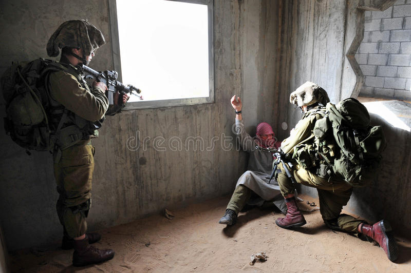 Israels försvarsmaktövning - stads- krig för IDF arkivbild