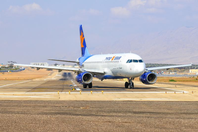 Israir Airbus A320-232. Eilat, ISRAEL-February 24, 2019: Israir Airbus A320-232 at old Eilat international Airport stock image