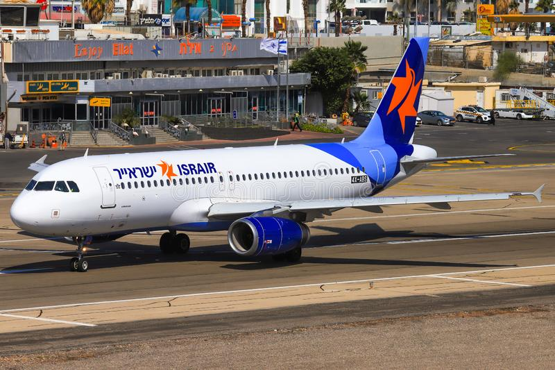 Israir Airbus A320-232. Eilat, ISRAEL-February 24, 2019: Israir Airbus A320-232 at old Eilat international Airport royalty free stock photography