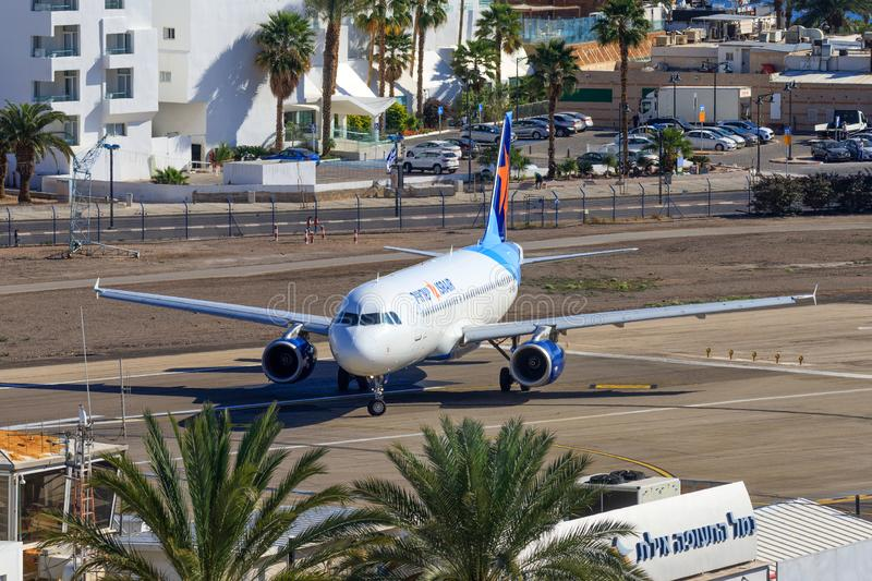 Israir Airbus A320-232. Eilat, ISRAEL-February 24, 2019: Israir Airbus A320-232 at old Eilat international Airport stock images