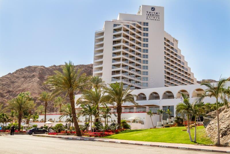 Isrotel Princess Hotel, Eilat. EILAT, ISRAEL - MAY 2: Isrotel Princess Hotel, Beach in gulf of Aqaba in the Red Sea in Eilat, Israel on May 2, 2014 royalty free stock photos