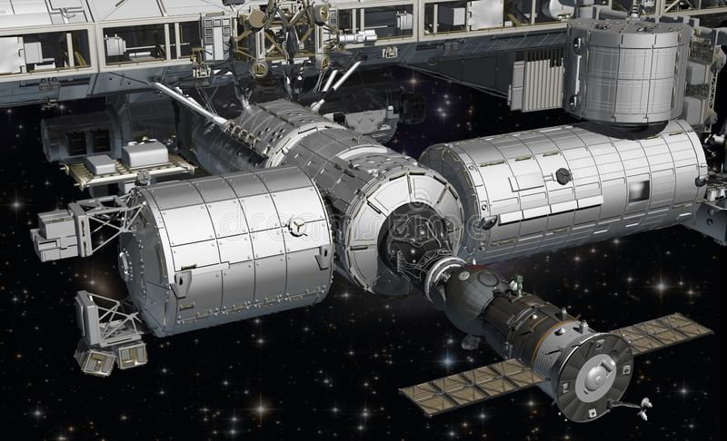 ISS na órbita de terra Embarcadouro de Soyuz imagem de stock royalty free