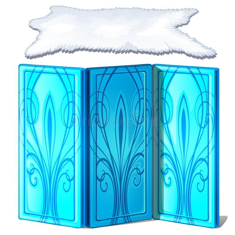 Isskärm- och isbjörnhud Dekorativa objekt för att dekorera en djupfryst slott Inre beståndsdelar Isolerad vektor royaltyfri illustrationer
