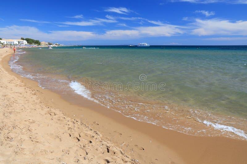 Issos海滩,科孚岛 免版税库存图片