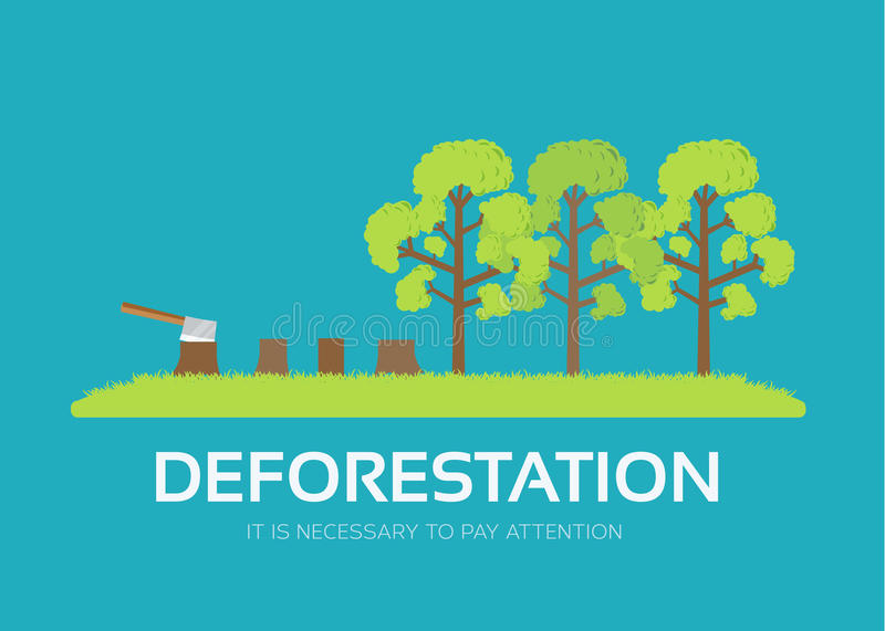 Issue deforestation in flat design background concept. Ecological natural problem. Icons for your product or. Issue deforestation in flat design background stock illustration