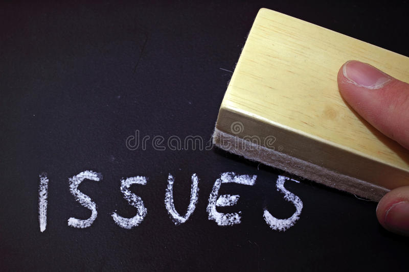 Issues Erasing. Delete every issues from your life stock photo