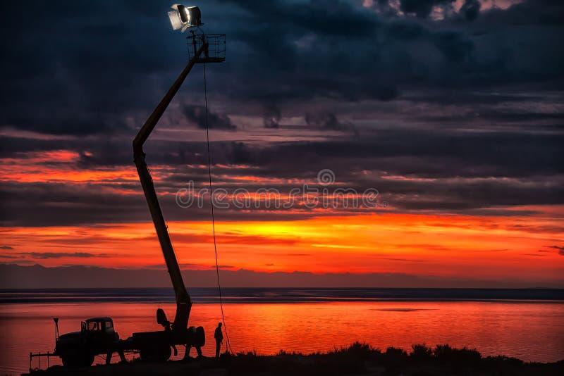 Issyk Kul See bei Sonnenaufgang stockfotografie