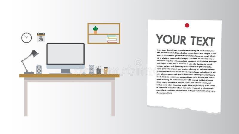 Ist gesetzte Arbeitsplatzdokumente des modernen flachen Designcomputers des Schreibtisches und stationäres Arbeitsplatz mit Kopie stock abbildung