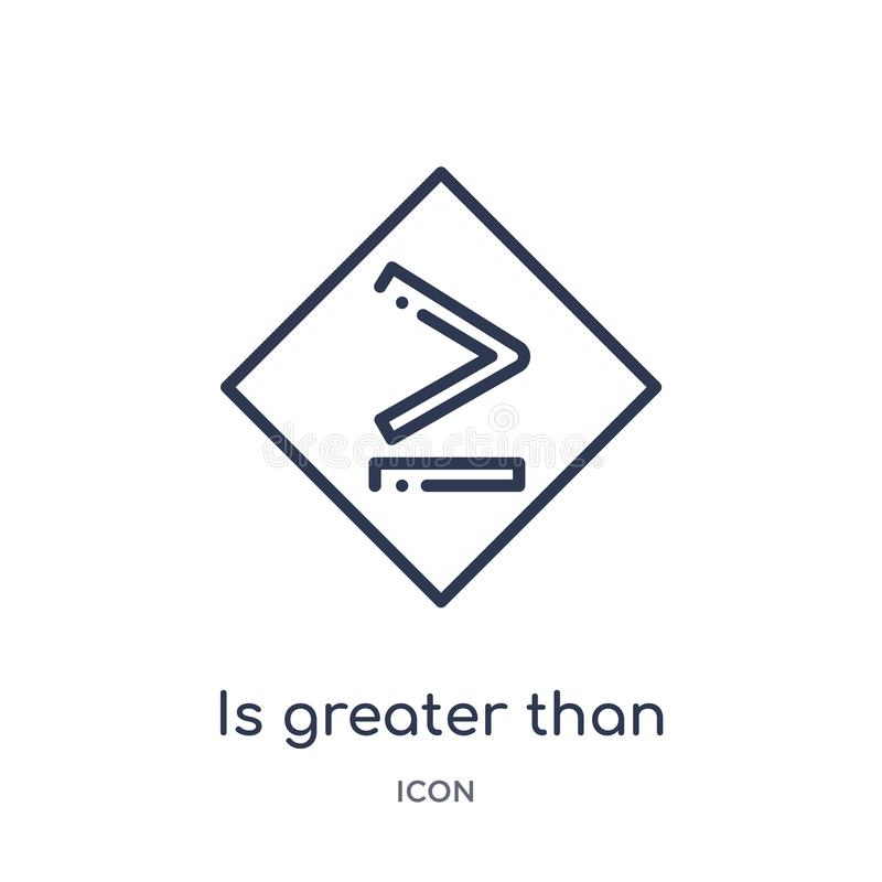 ist größer als oder Ikone von der Zeichenentwurfssammlung gleich Dünne Linie ist größer als oder Gleichgestelltes zur Ikone, die  lizenzfreie abbildung