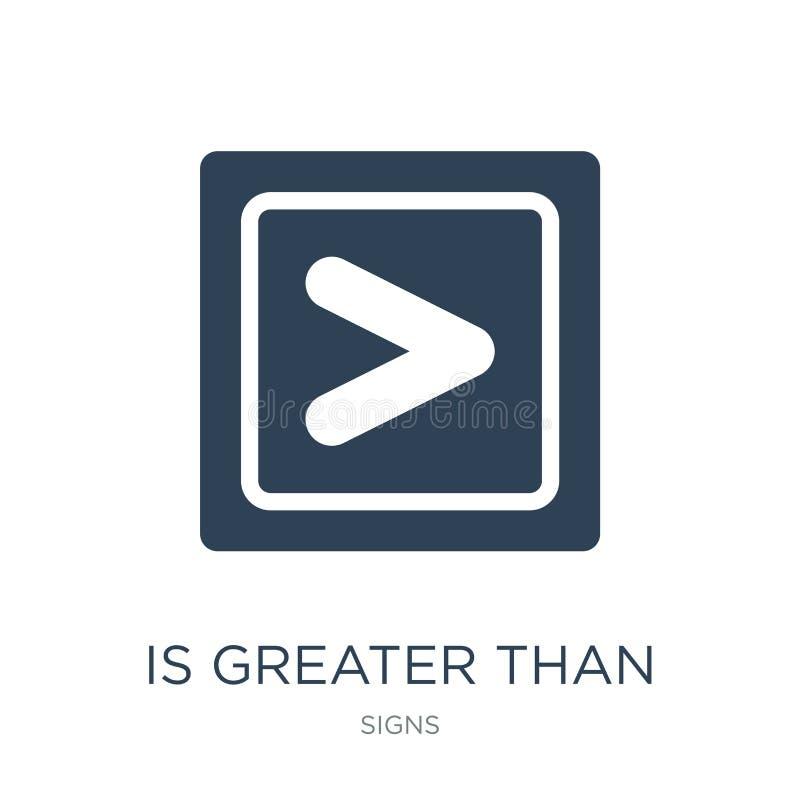 ist größer als Ikone in der modischen Entwurfsart ist größer als die Ikone, die auf weißem Hintergrund lokalisiert wird ist größe vektor abbildung