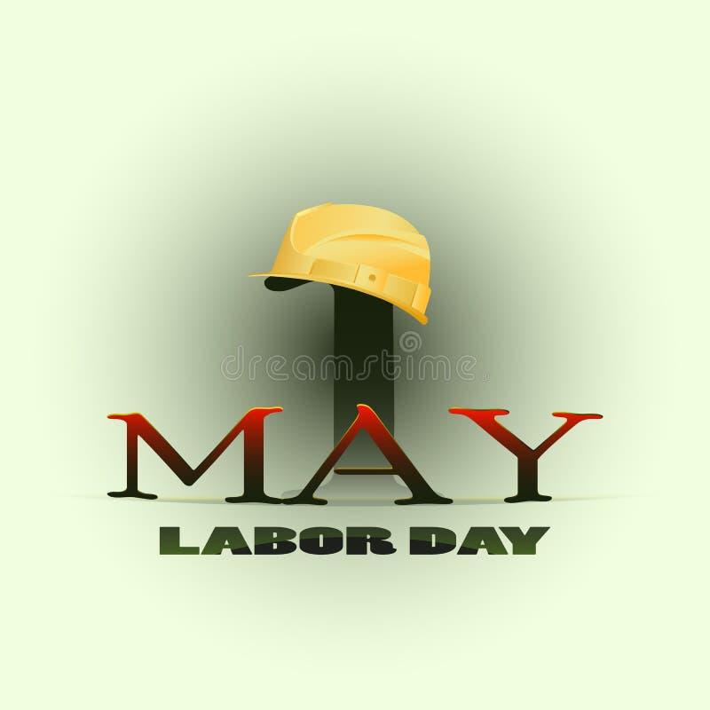Ist 1. Mai glücklicher Werktag Arbeitssturzhelm lizenzfreie abbildung